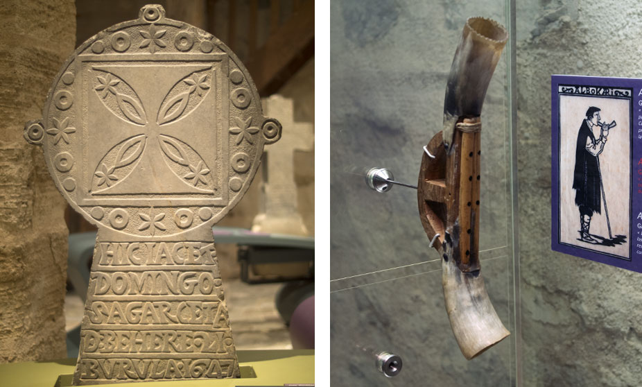Left: Tomb stone. Right: albokari (Basque music instrument)