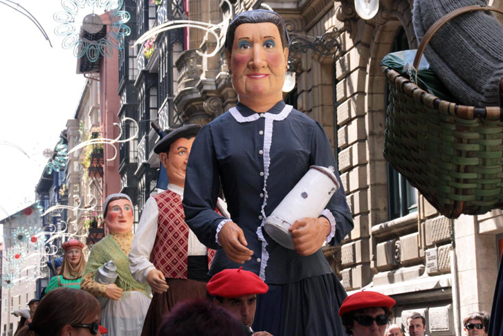 Parade of giants at the Bilbao's Aste Nagusia festival